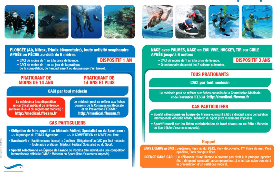 Nouvelle édition du certificat médical pour les activités subaquatiques